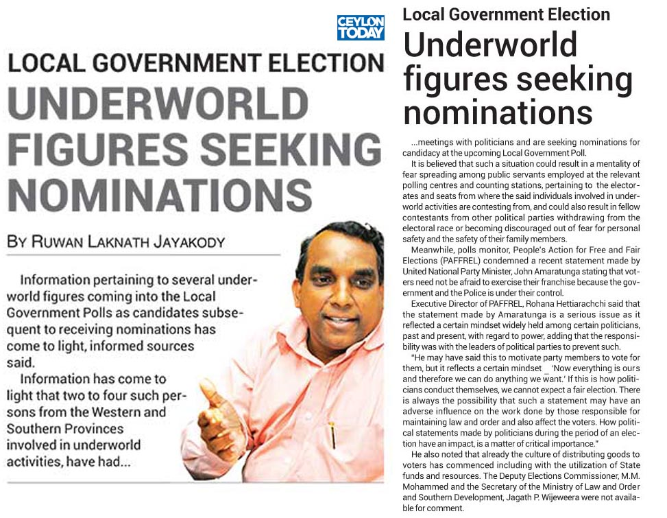 Underworld Figures Seeking Nominations